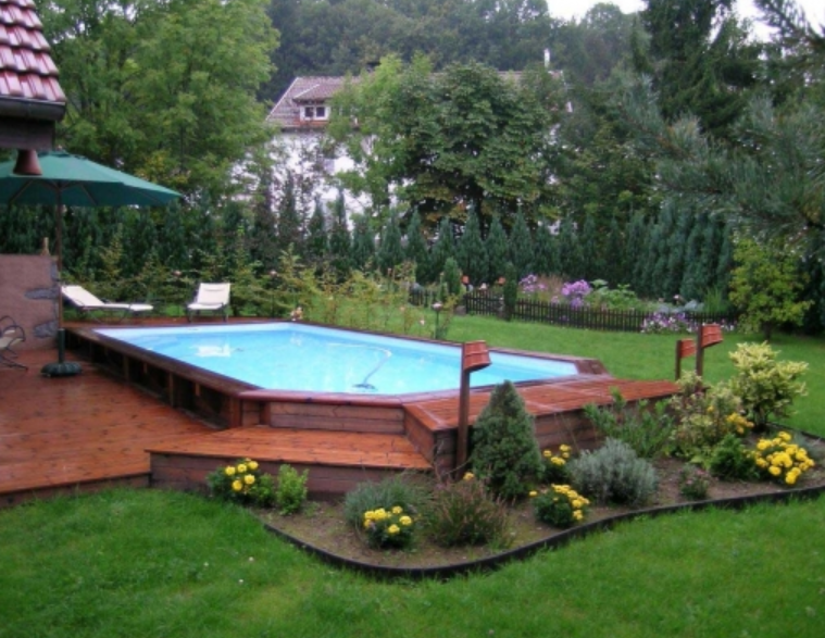 Le tas d 39 id e de piscine semi enterr e for Jardin avec piscine