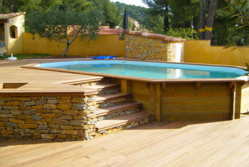 Photo de piscine en bois for Piscine imitation bois