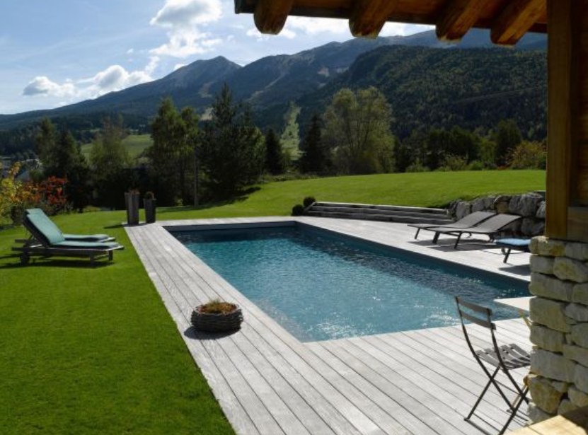 Piscine enterree bois piscine hors sol en bois semi for Piscine en kit bois semi enterree