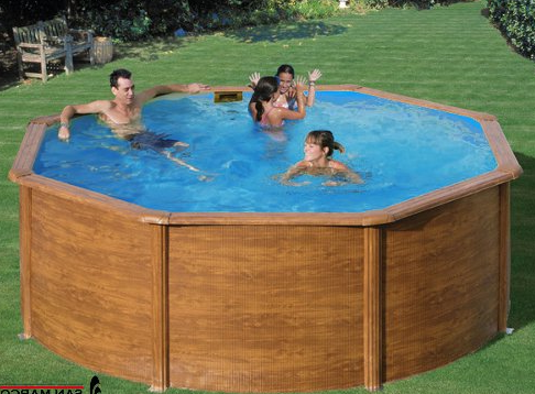 Coque piscine octogonale for Piscine semi enterre bois
